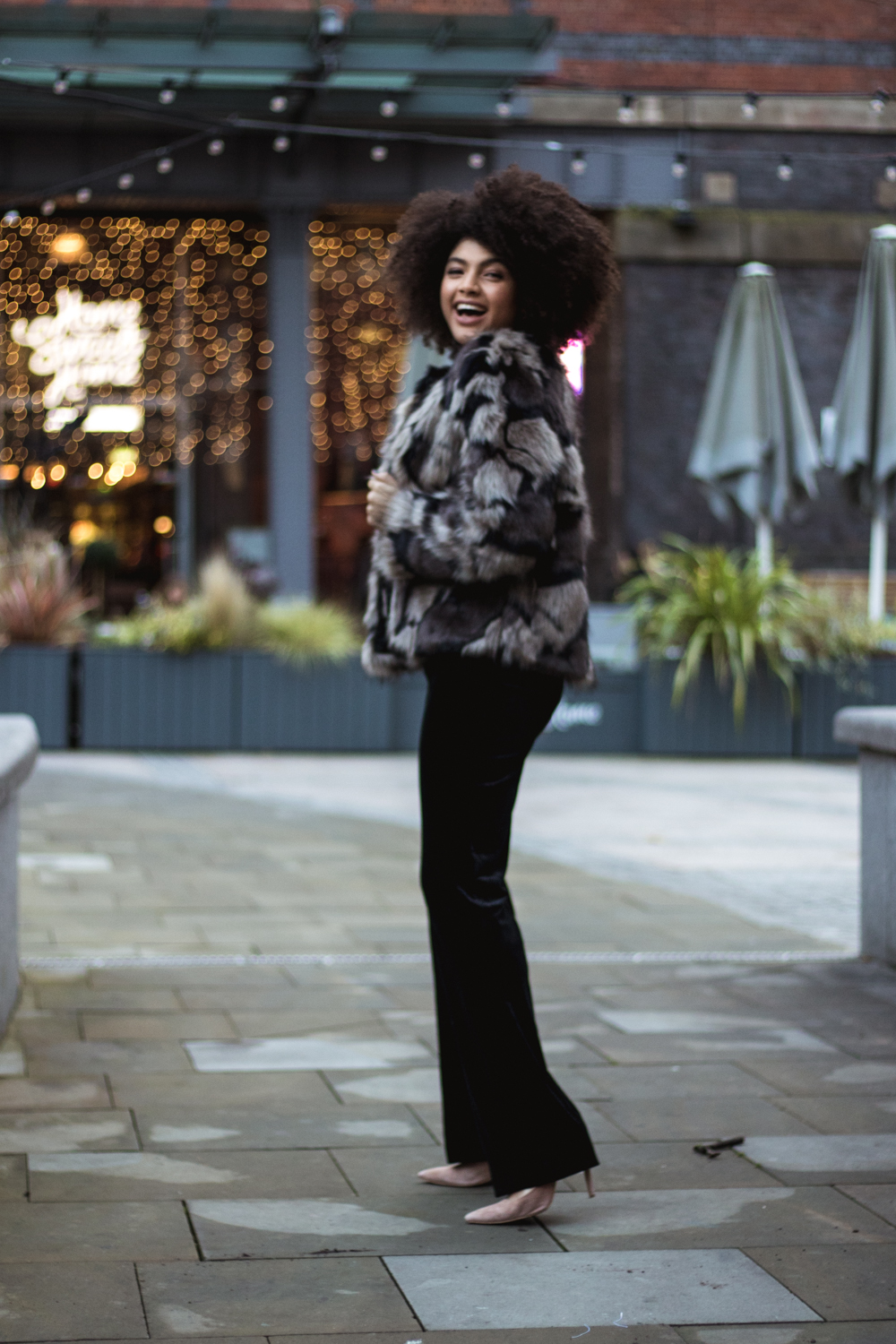 TK Maxx Party Wear Outfit Faux Fur Jacket and Black Velvet Trousers Samio