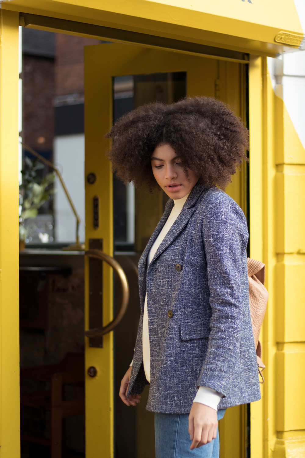 Blue Womens Textures Blazer Outfit