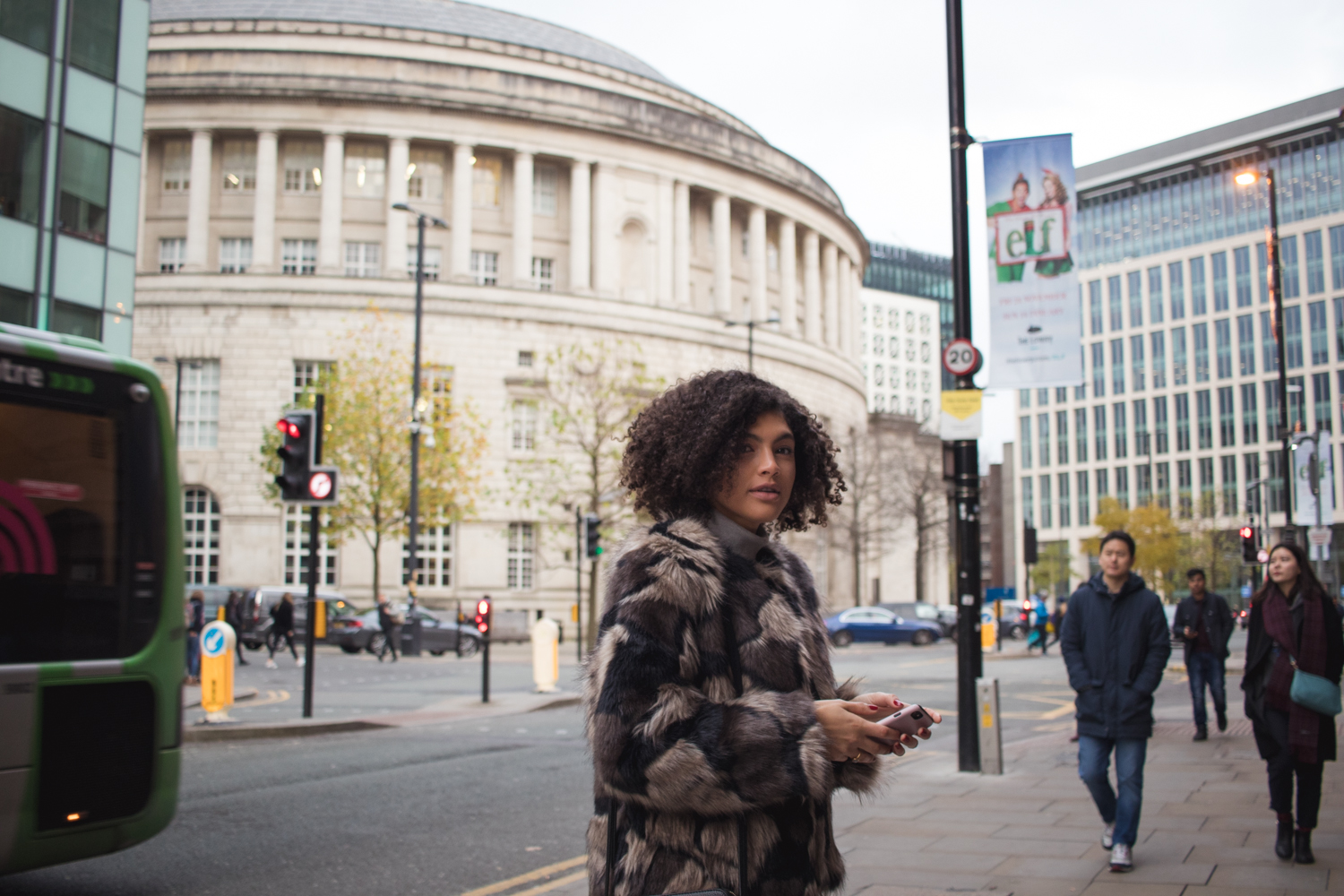 Central Library Manchester Faux Fur Coat Outfit November