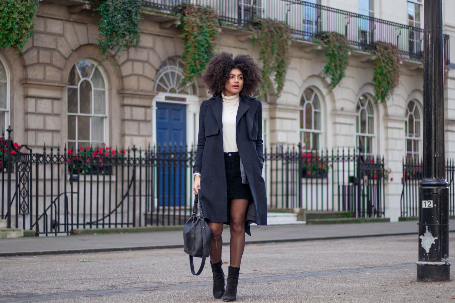 Cream Roll Neck Moto Mini Skirt Boots and Navy Coat Winter Outfit