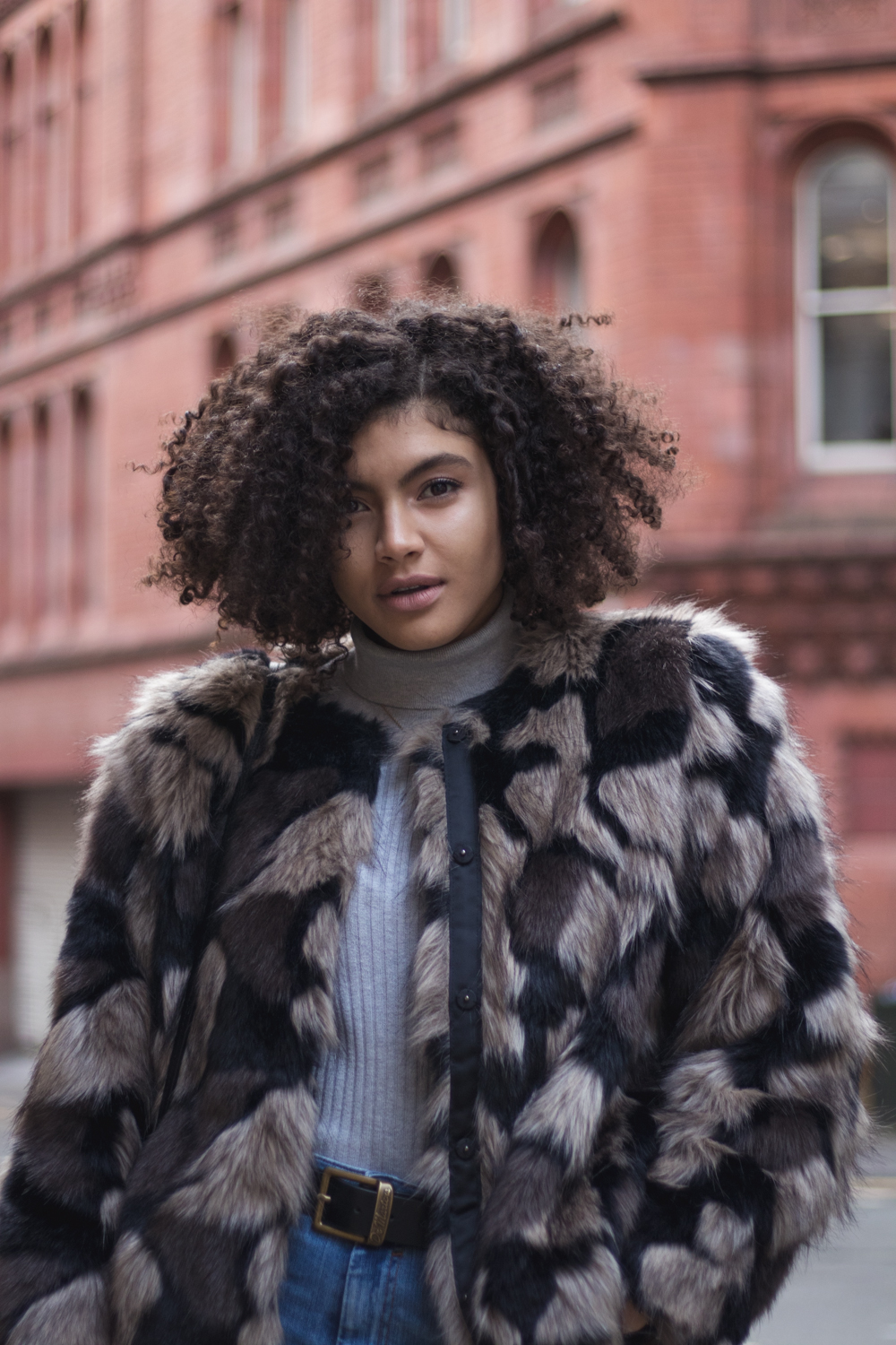 Grey Roll Neck and Patchwork Faux Fur Jacket