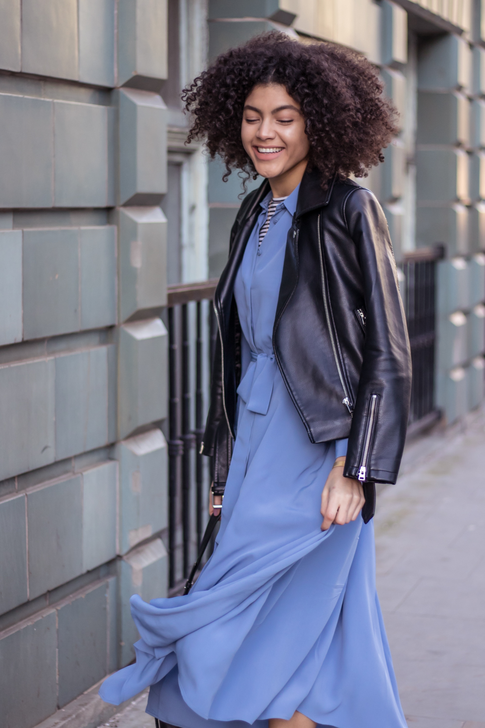Blue Finery London shirt dress and faux leather biker jacket outfit