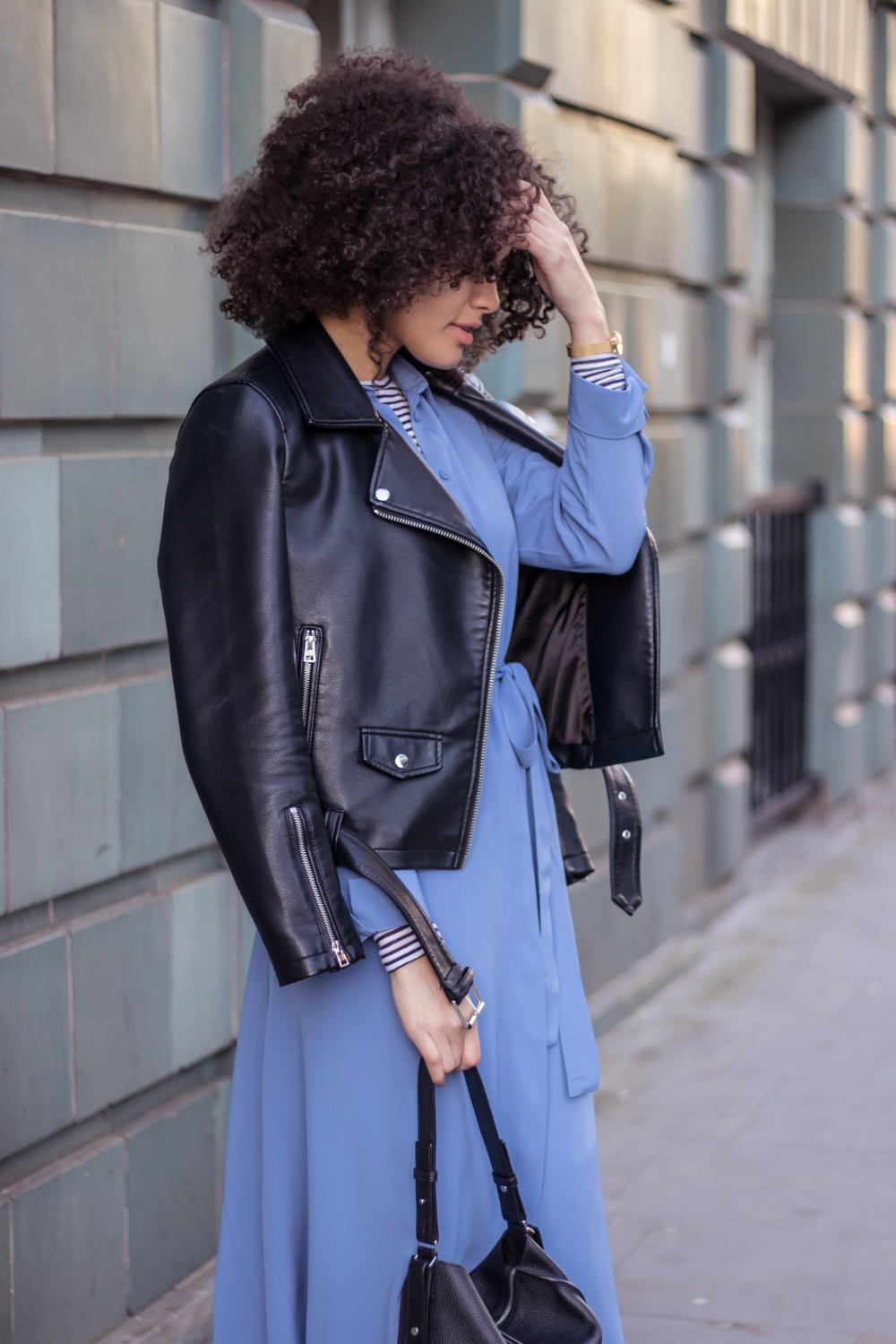 Faux leather biker jacket and dress outfit