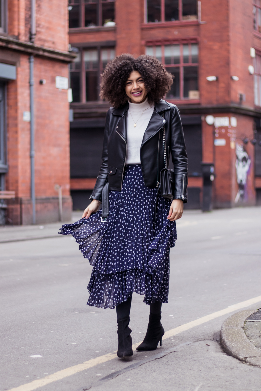 Finery Baltic Double Layered Pleated Polka Dot Skirt and Biker Jacket Outfit