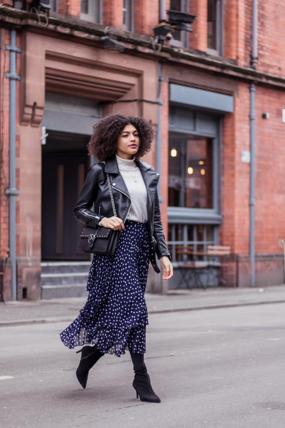 Finery Baltic Navy Polka Dot Midi Skirt Boots and Biker Jacket Outfit