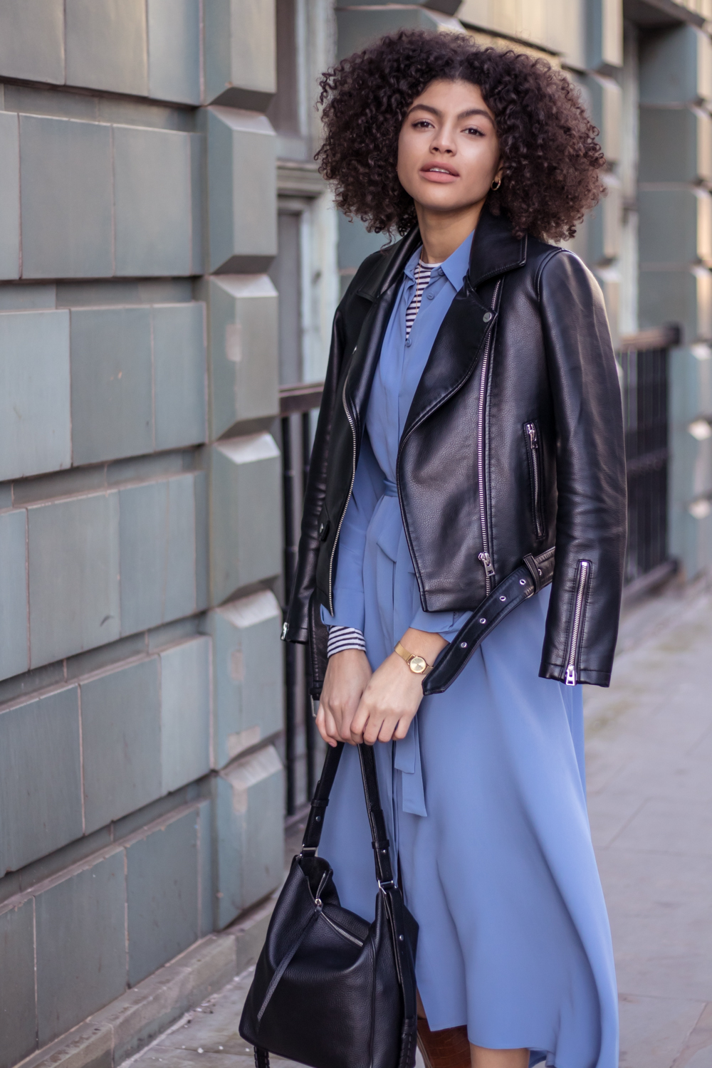Finery cornflower blue shirt dress layering biker jacket outfit