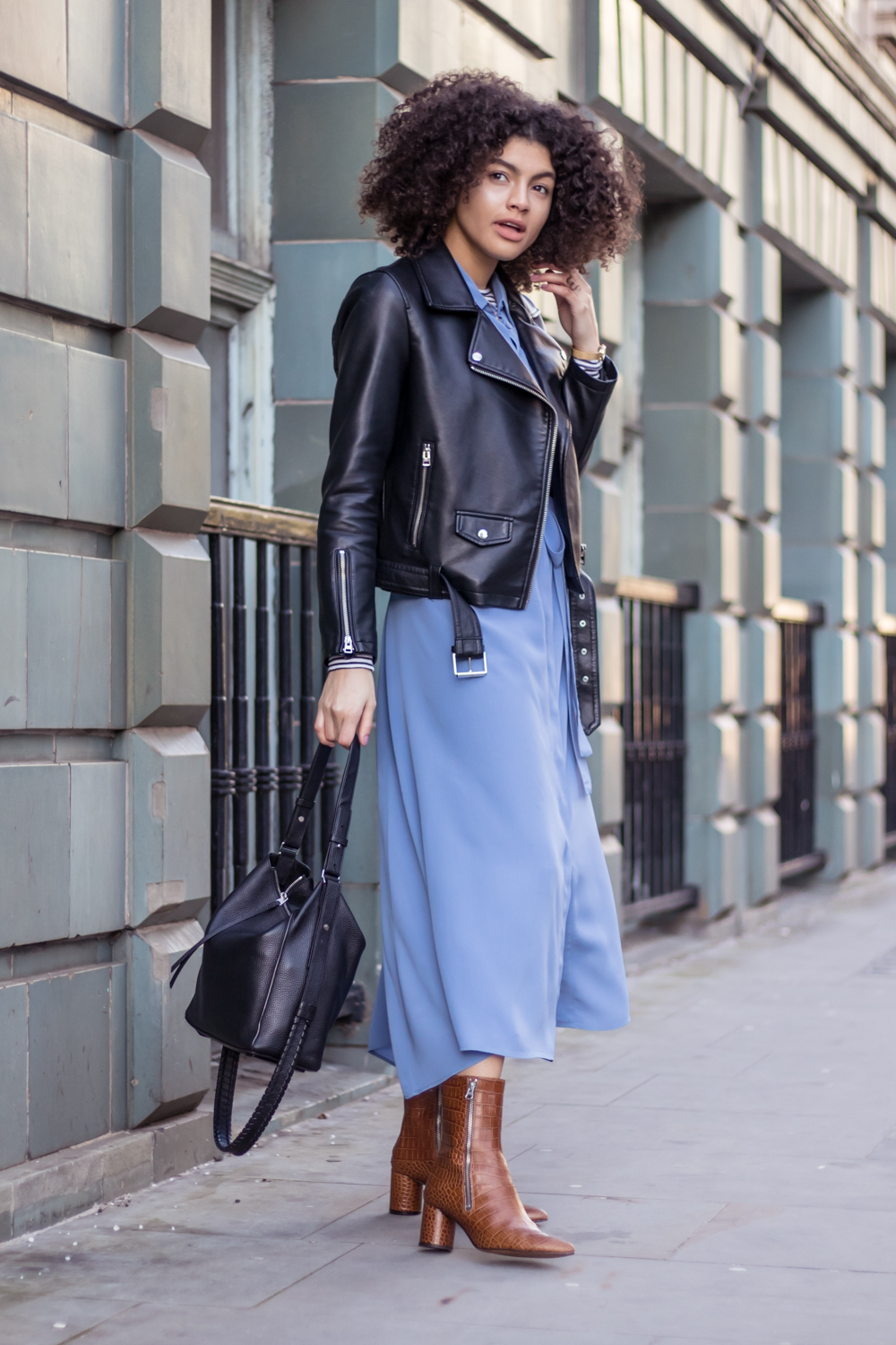 Finery blue shirt dress Emilia boots and Topshop borg biker jacket