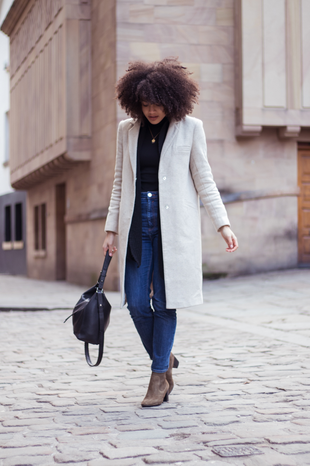 Minimal slim coat jeans and boots outfit