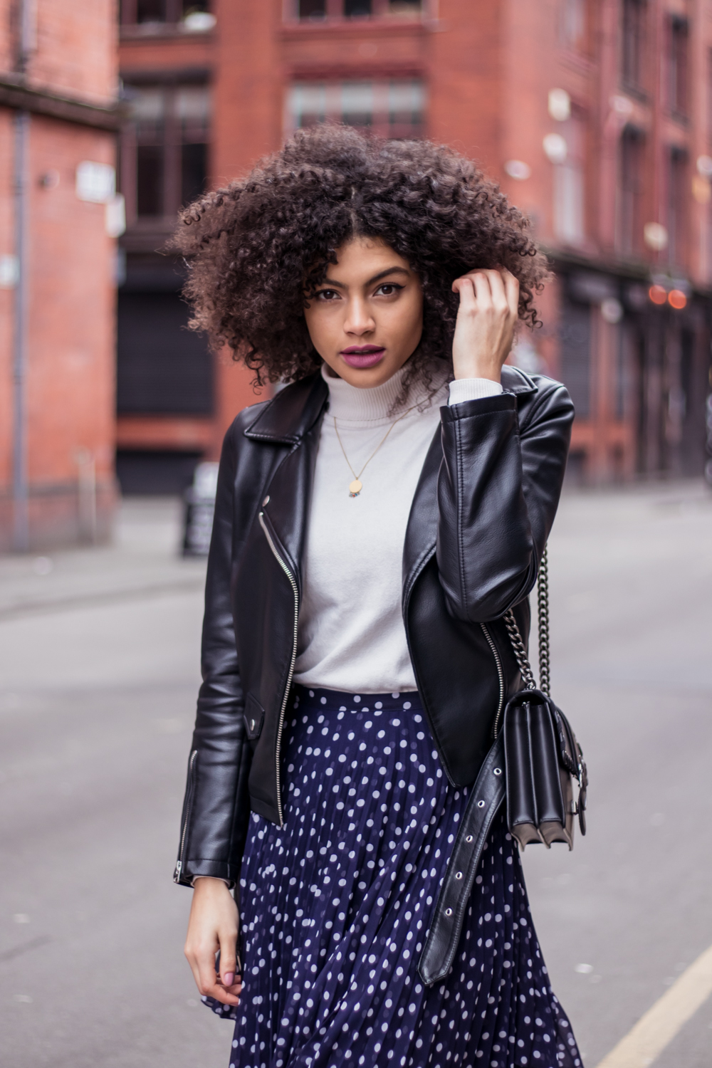 Navy Polka Dot Skirt Roll Neck and Biker Jacket
