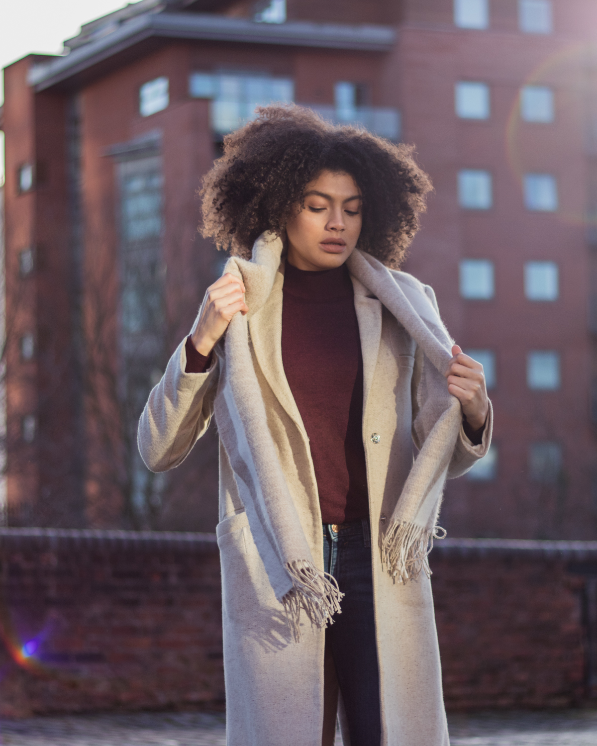 Oatmeal slim coat and scarf minimal style winter outfit