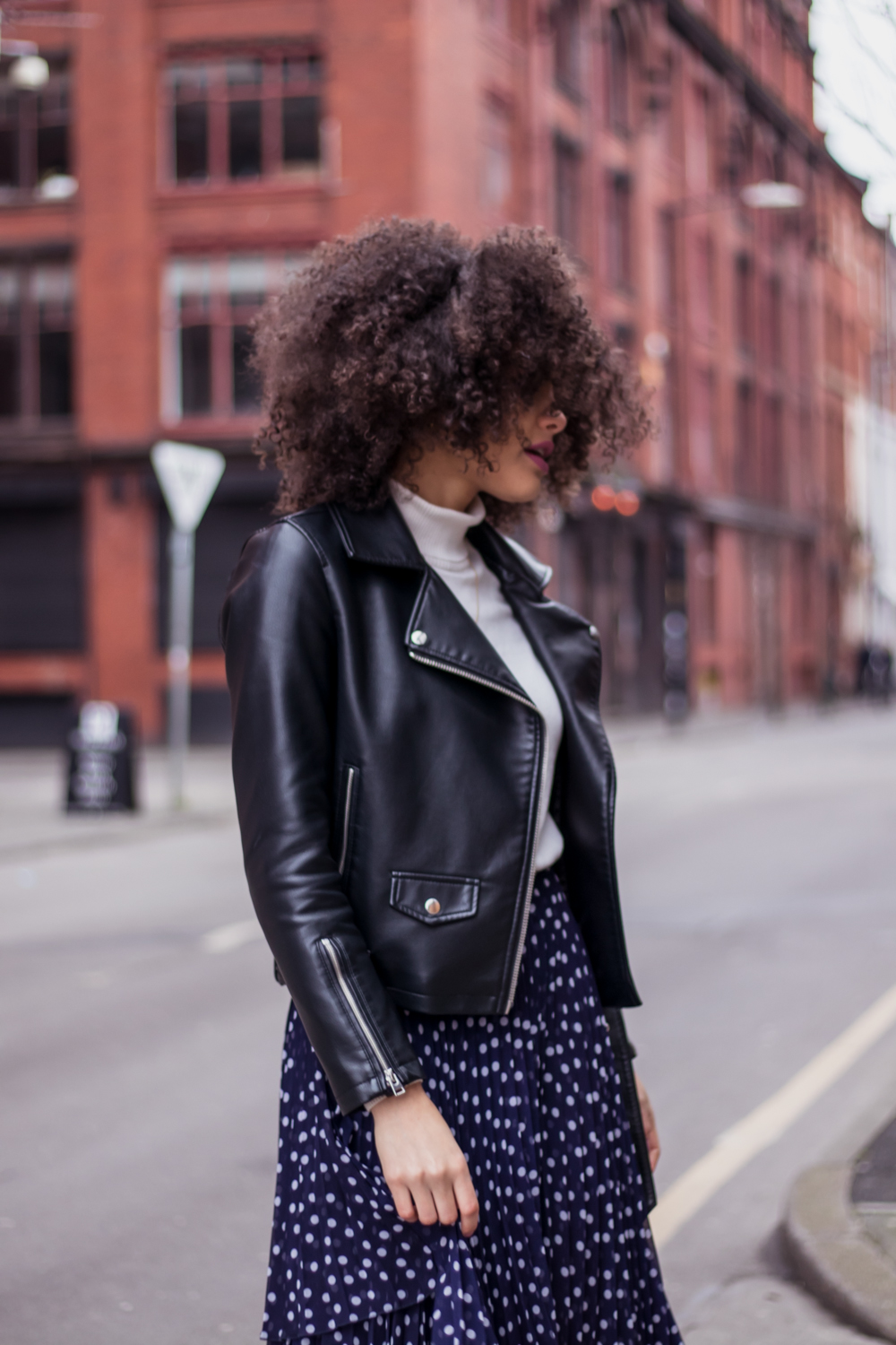 Topshop Biker Jacket and polka dot skirt