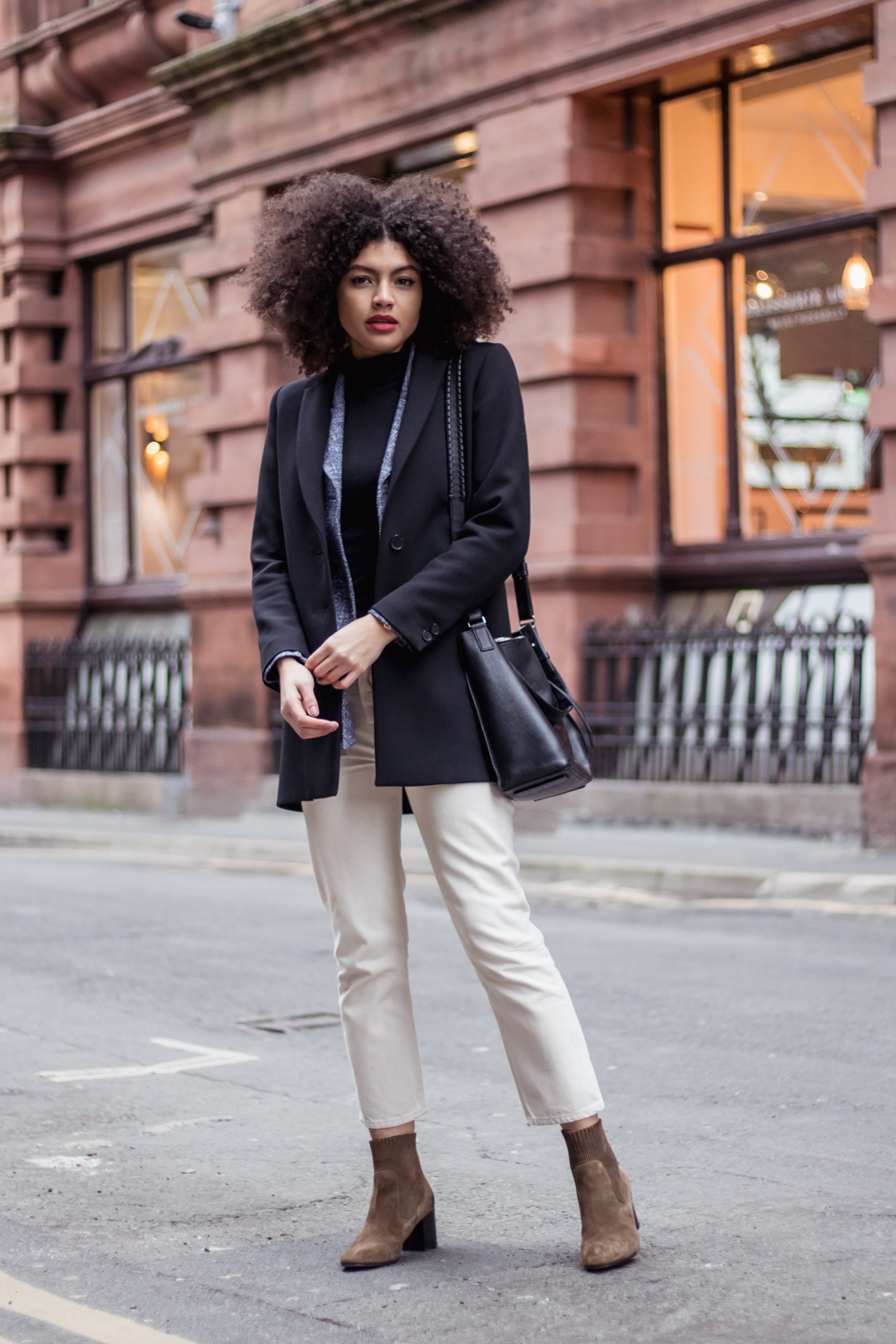 Weekday ami jeans boots and longline blazer outfit
