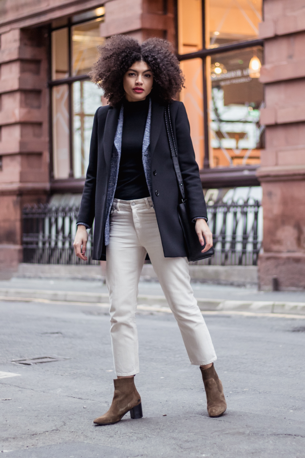 Weekday Ami Jeans in Beige denim Black Longline Jigsaw Blazer