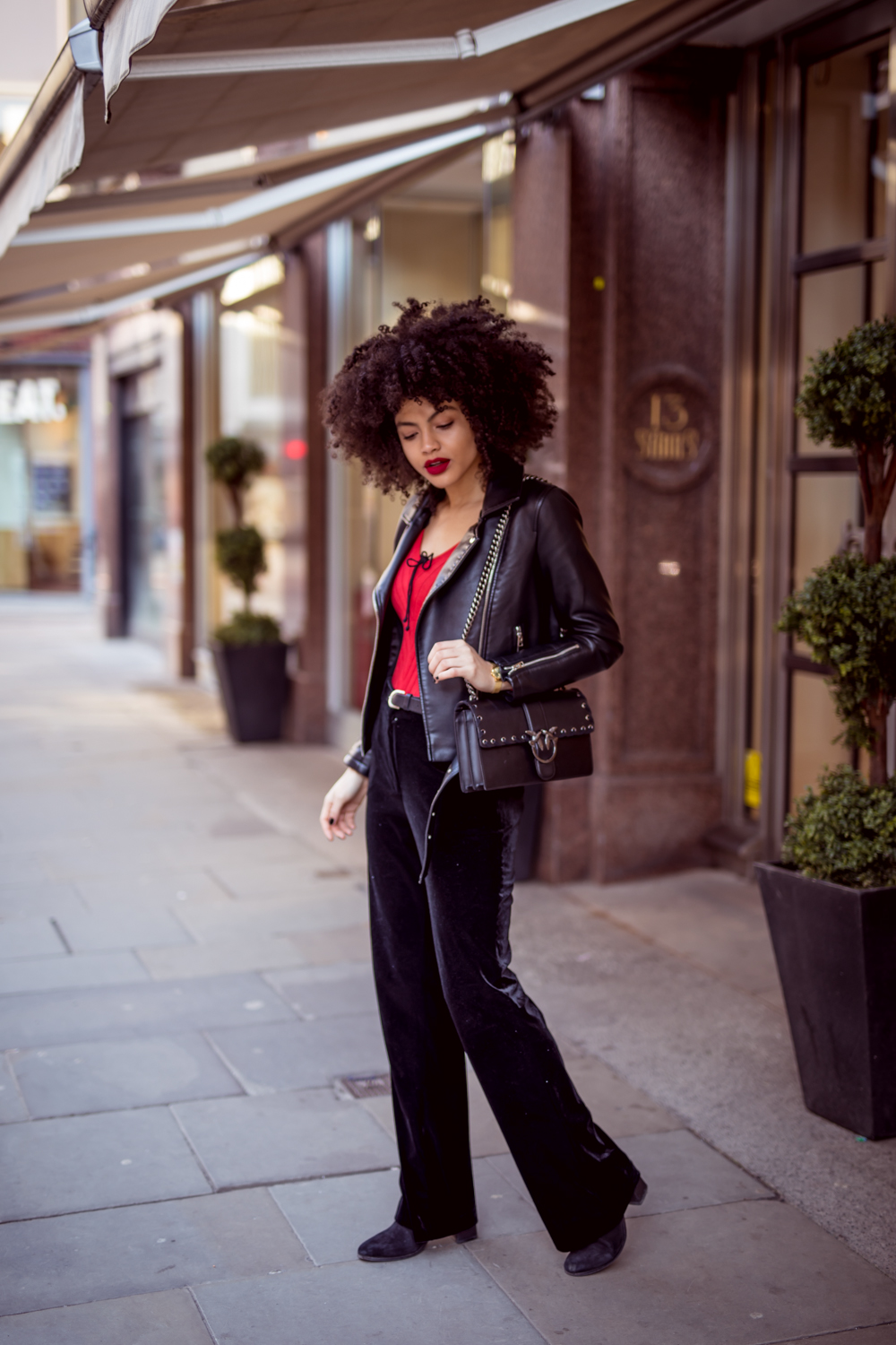 Velvet Trousers Outfit and Pinko Love Bag