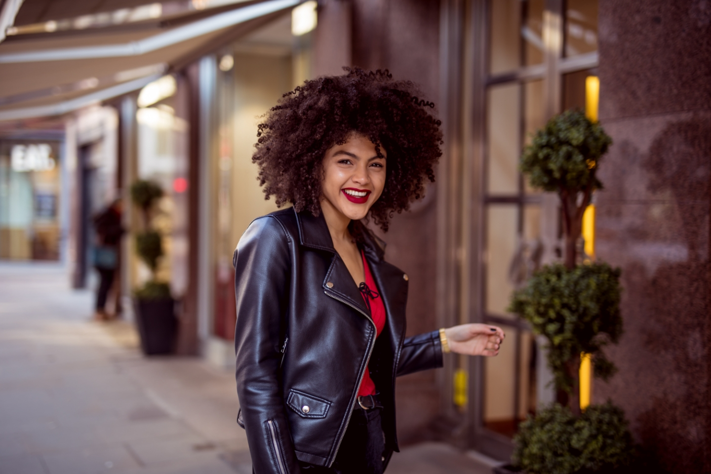 Faux leather biker jacket style blogger outfit