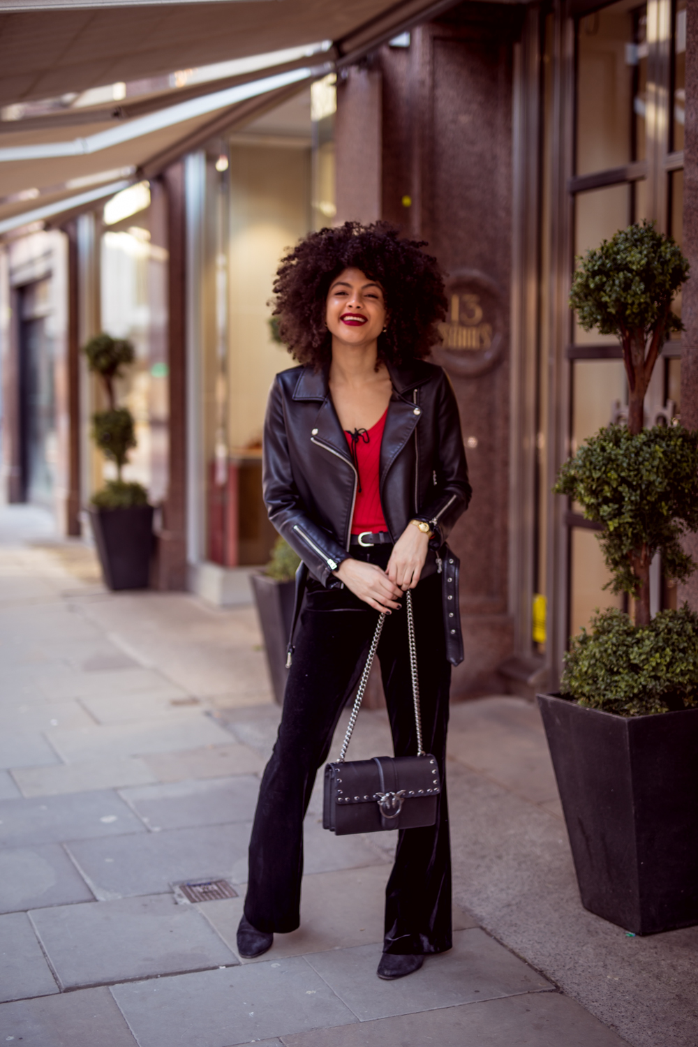Topshop Borg Jacket TK Maxx Velvet Trousers and Pinko Love Bag Outfit