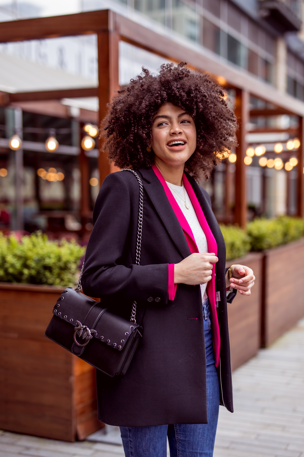 Black Jigsaw Jacket and Pinko Love Bag Outfit