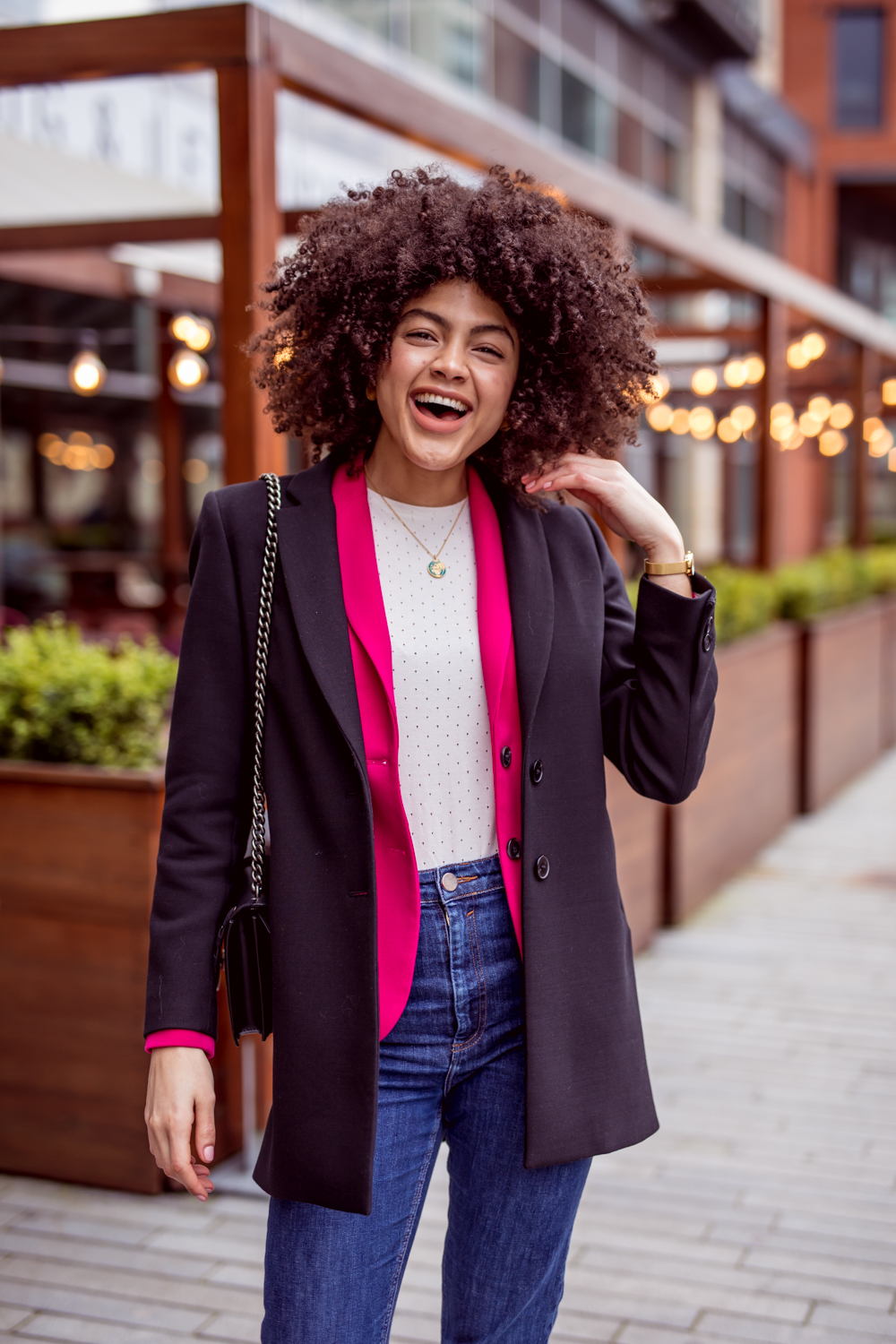 French Connection Sundae Pink Suit Blazer and Jigsaw black jacket Spring layering