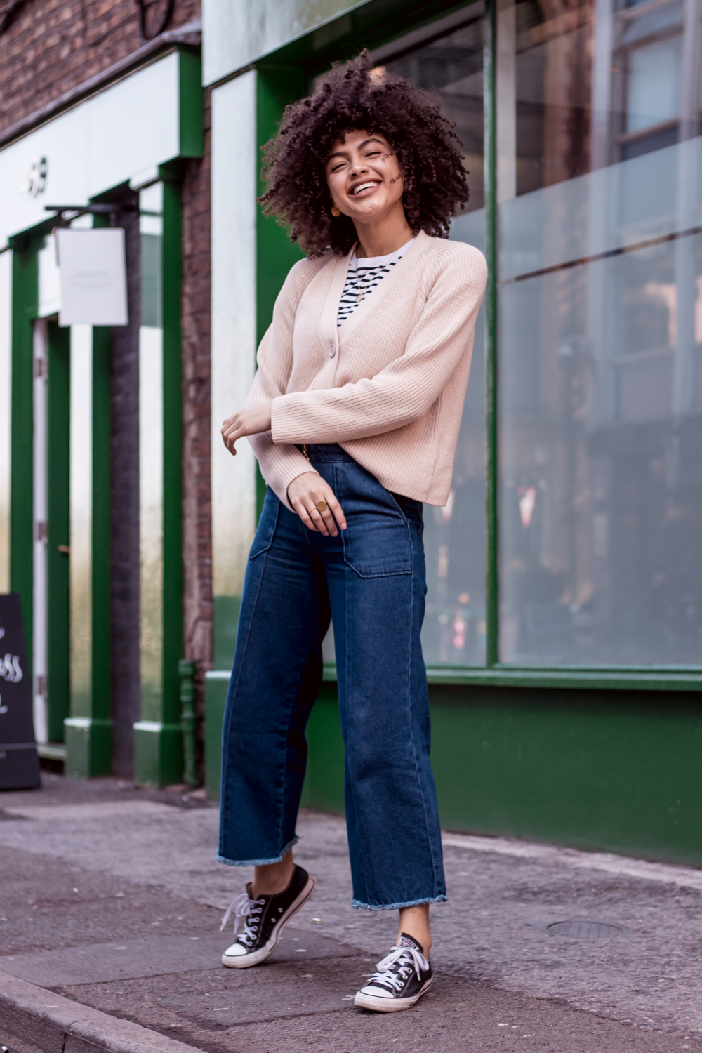 Stripe Tee Boxy Cardigan and Cropped Denim Everyday Outfit