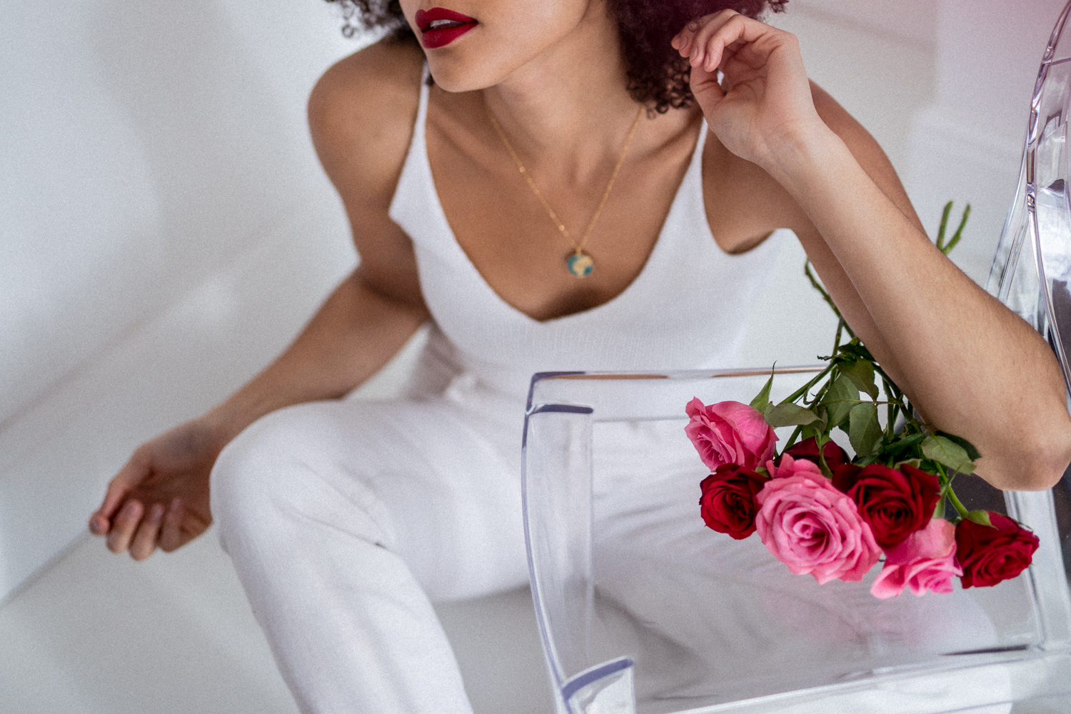 Red and Pink Roses all White Outfit