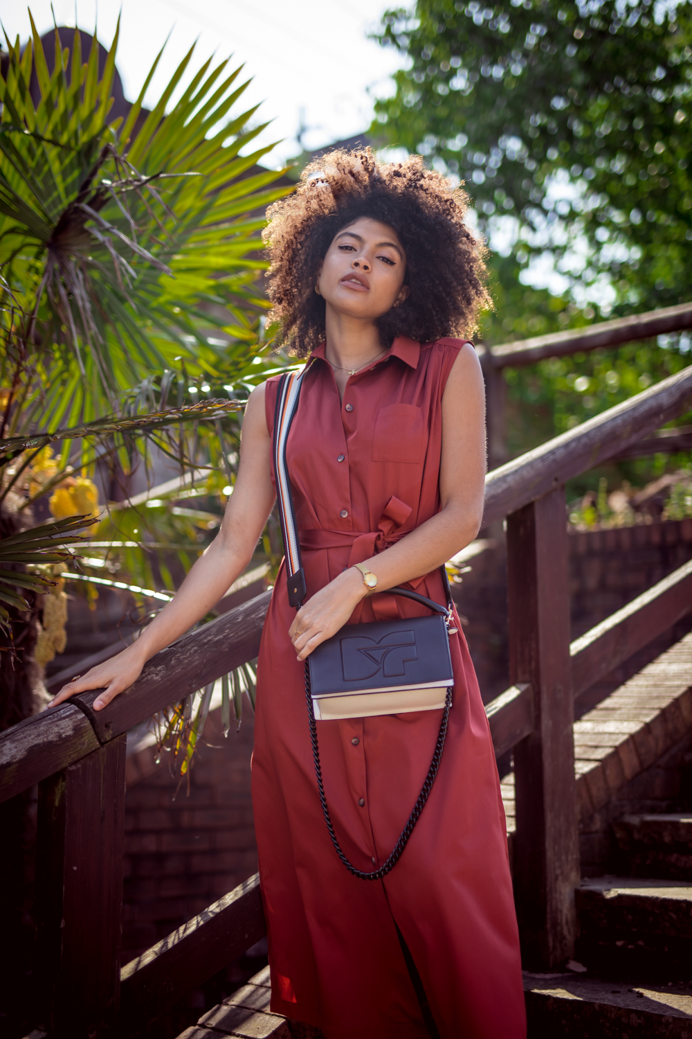 Rust and other stories sleeveless belted shirt dress outfit