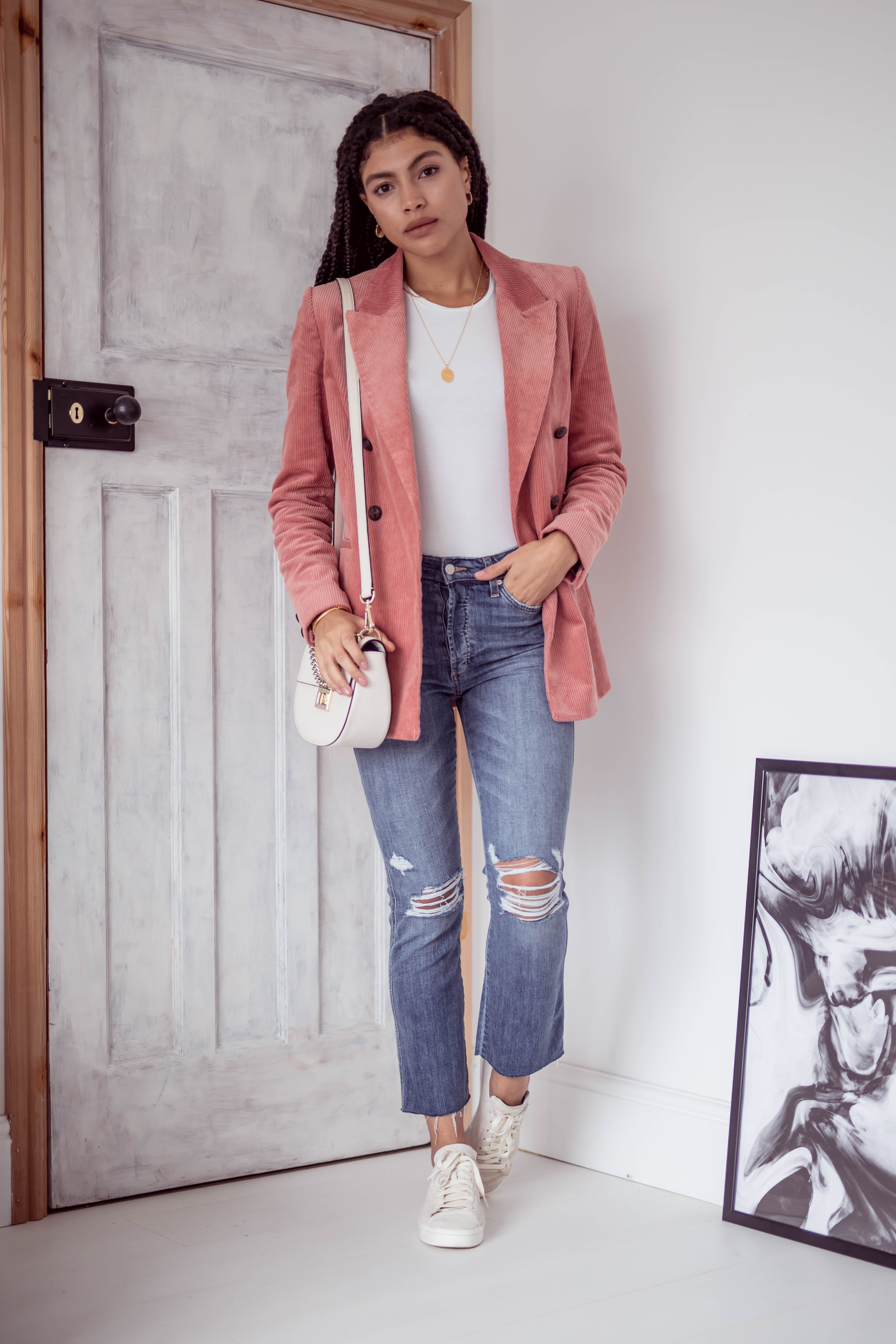 Casual Everyday cropped denim jeans and pink double breasted corduroy blazer outfit
