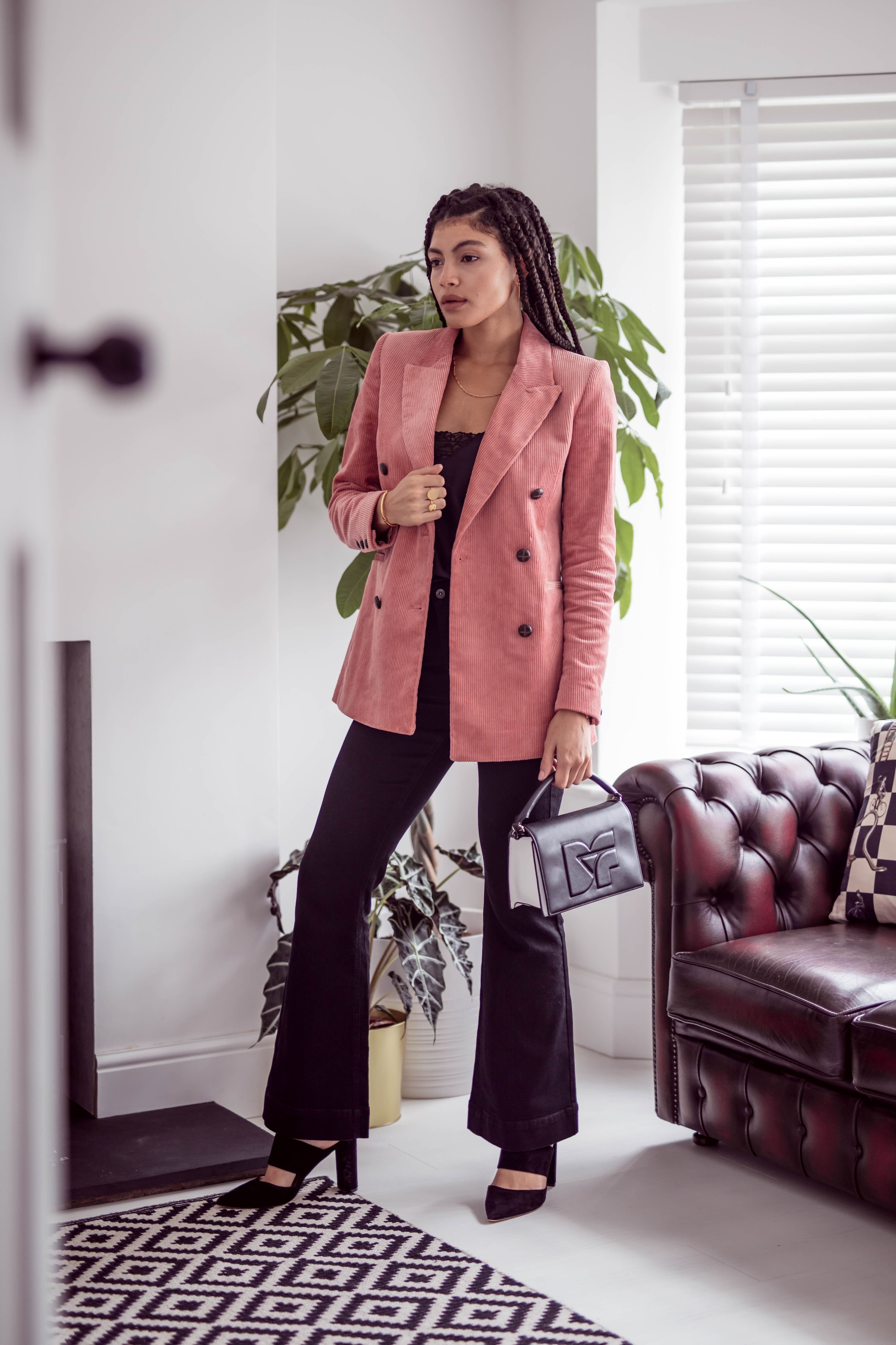 Double Breasted Corduroy Blazer and black denim flares outfit
