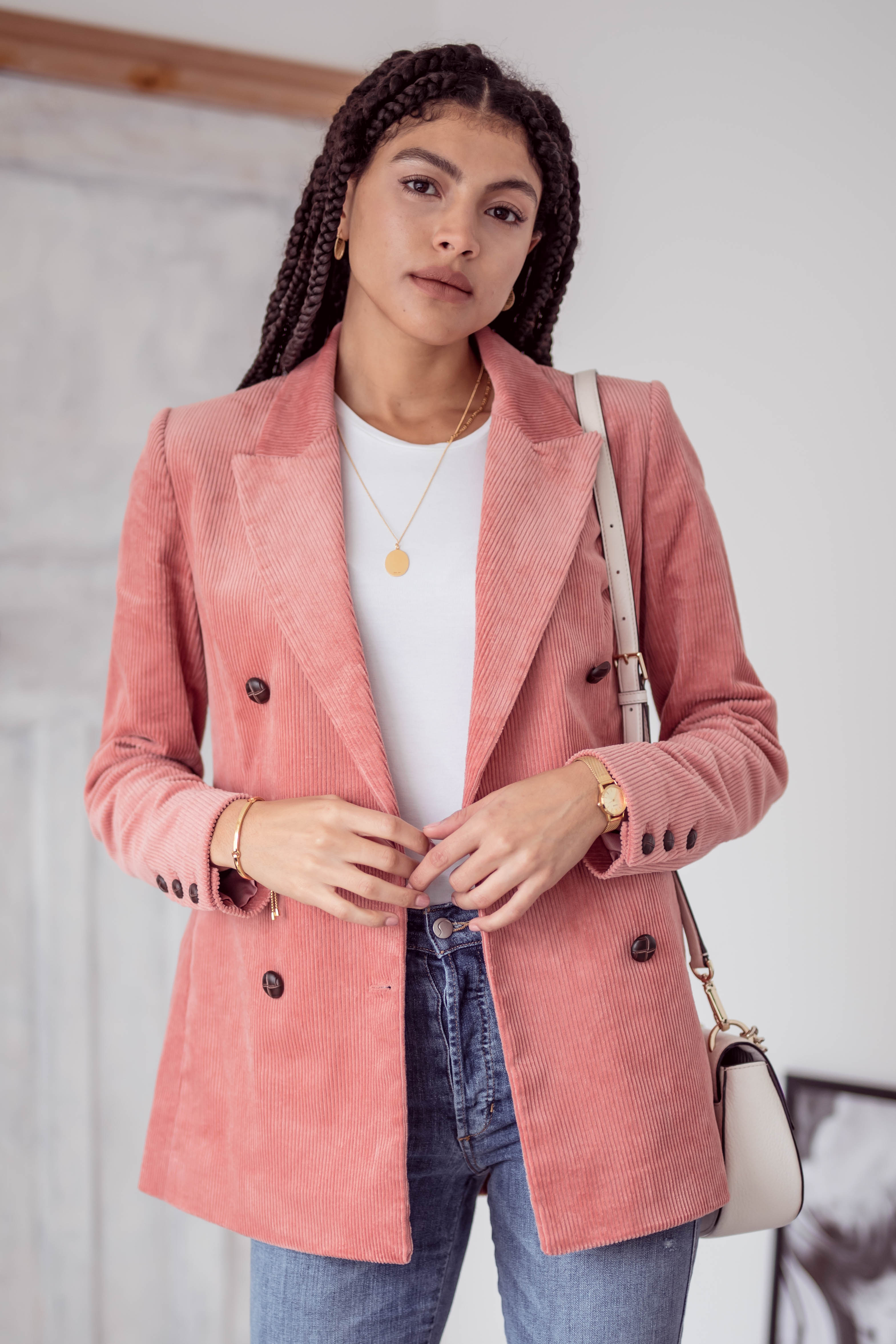 How to wear the pink double breasted corduroy blazer