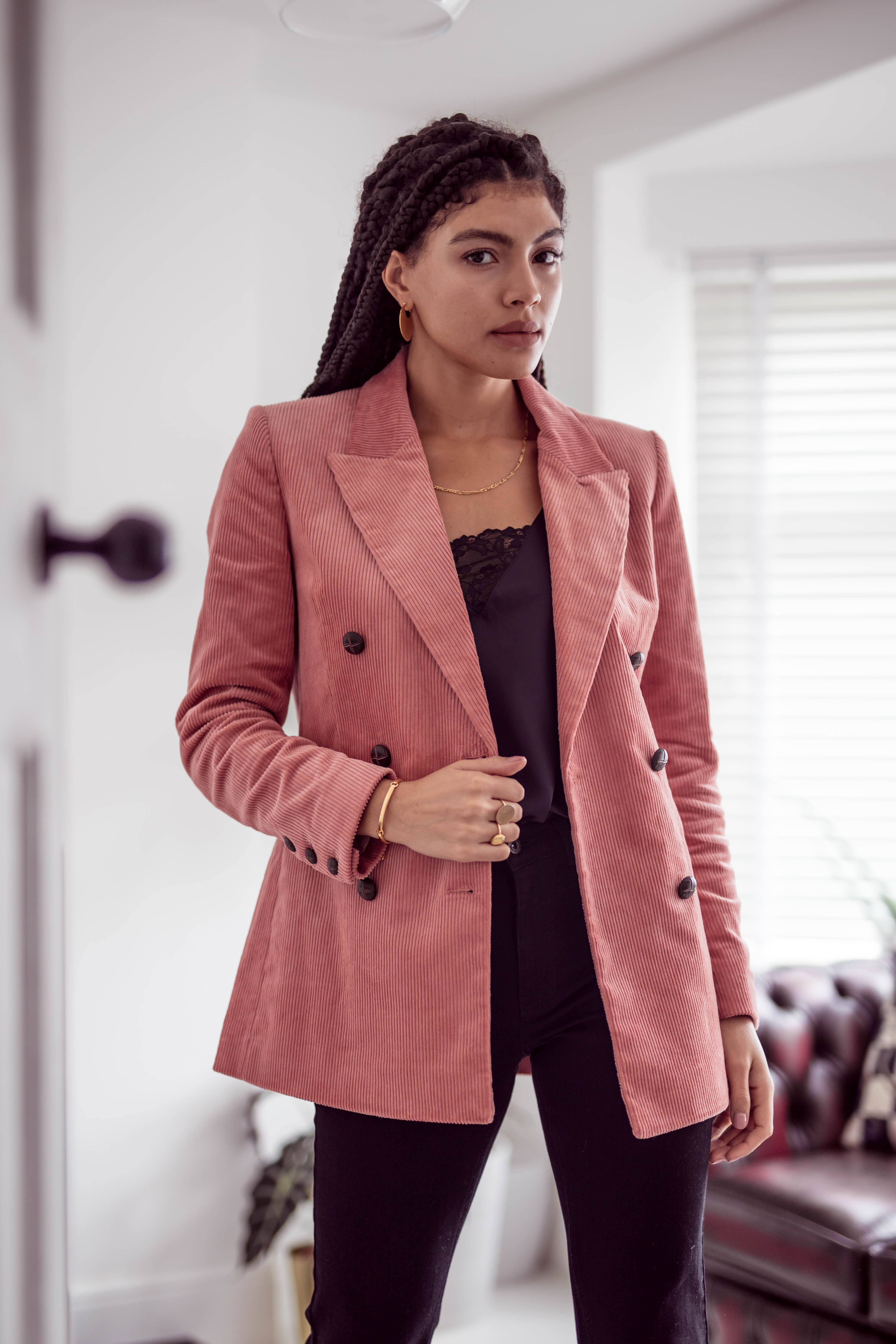 Other Stories Pink Double Breasted Corduroy Blazer Outfit