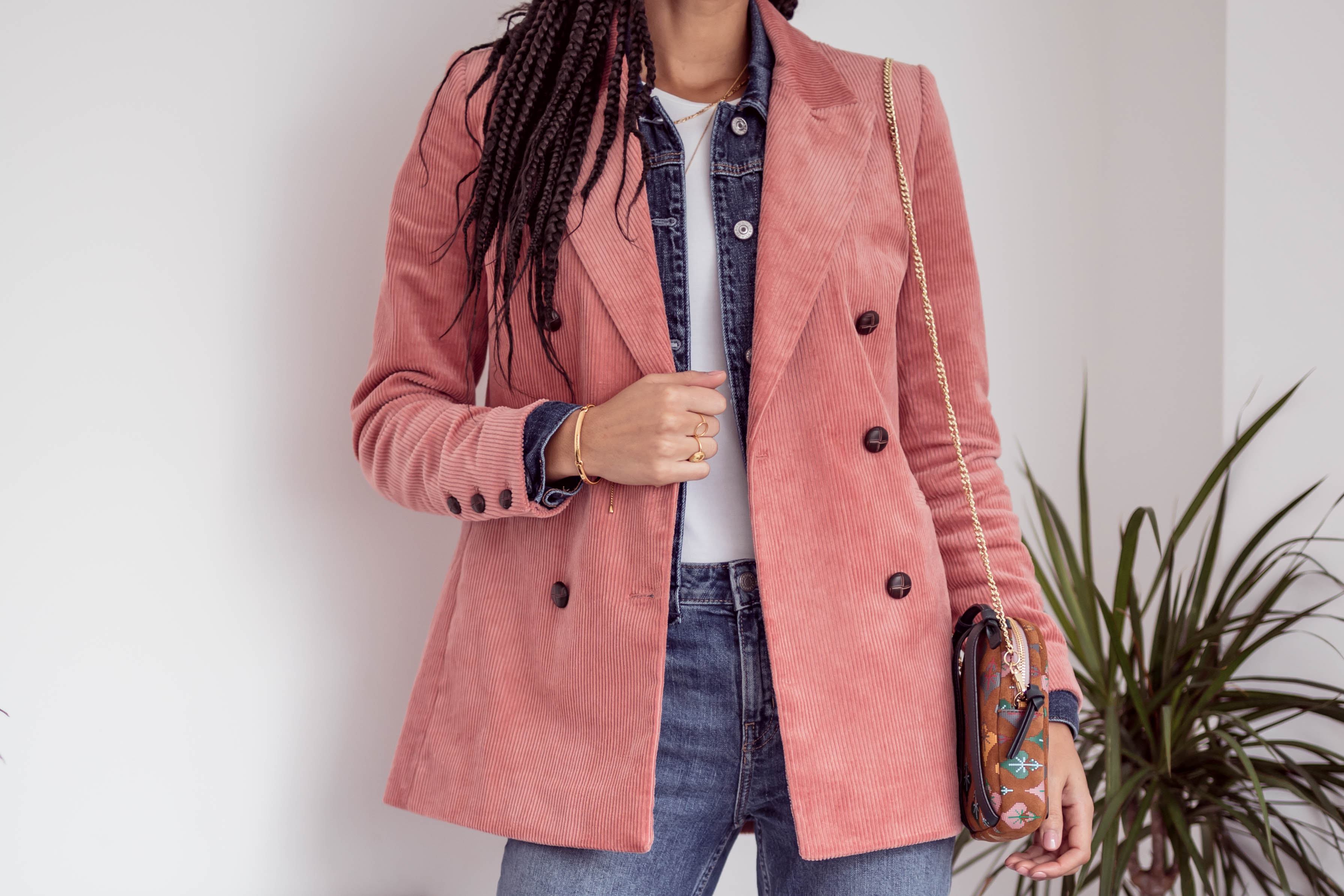 Samio double denim with pink and Other stories double breasted corduroy blazer transitional outfit Samio