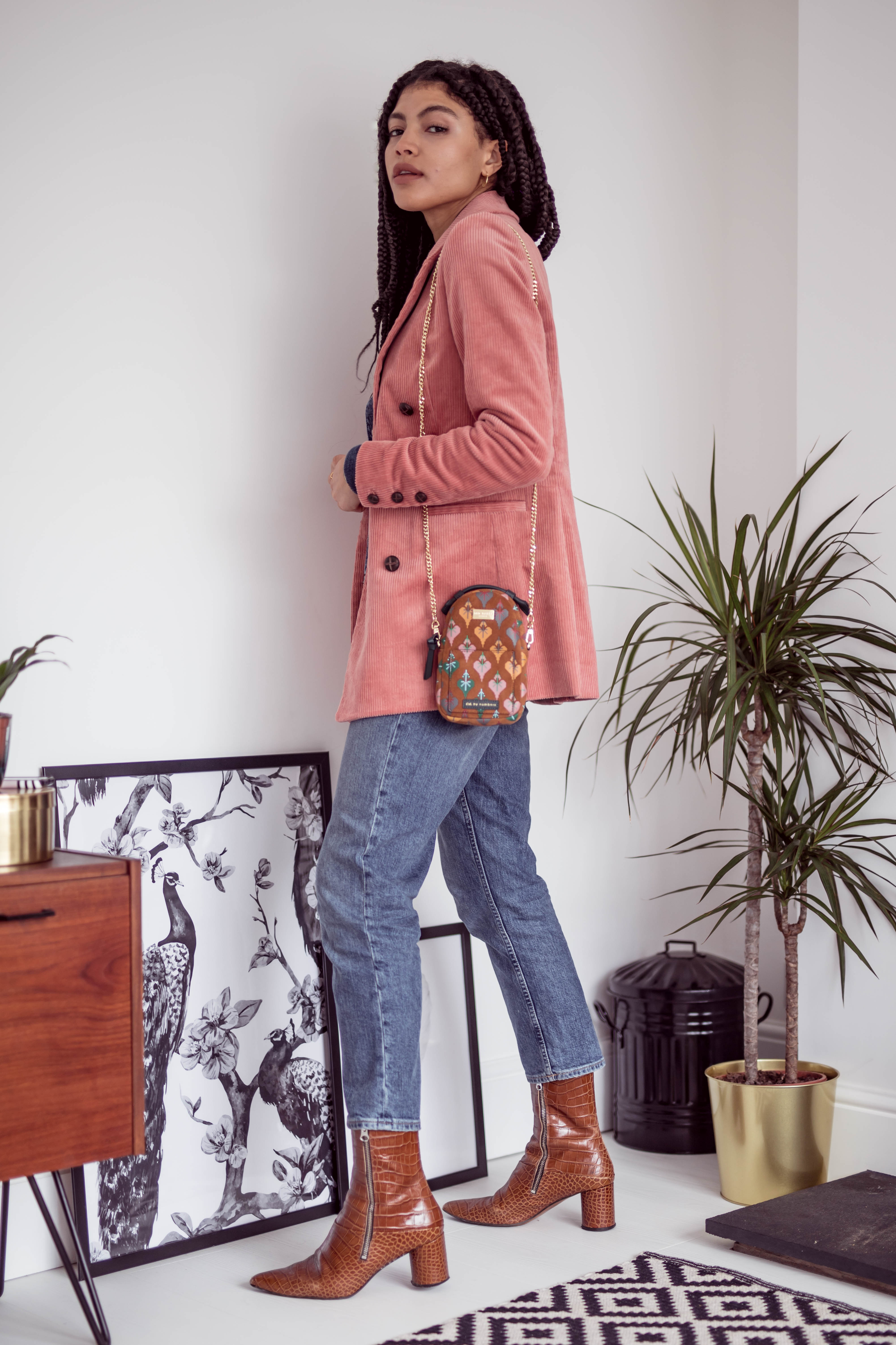 Samio how to style and Other Stories pink Double Breasted Corduroy Blazer with denim and boots