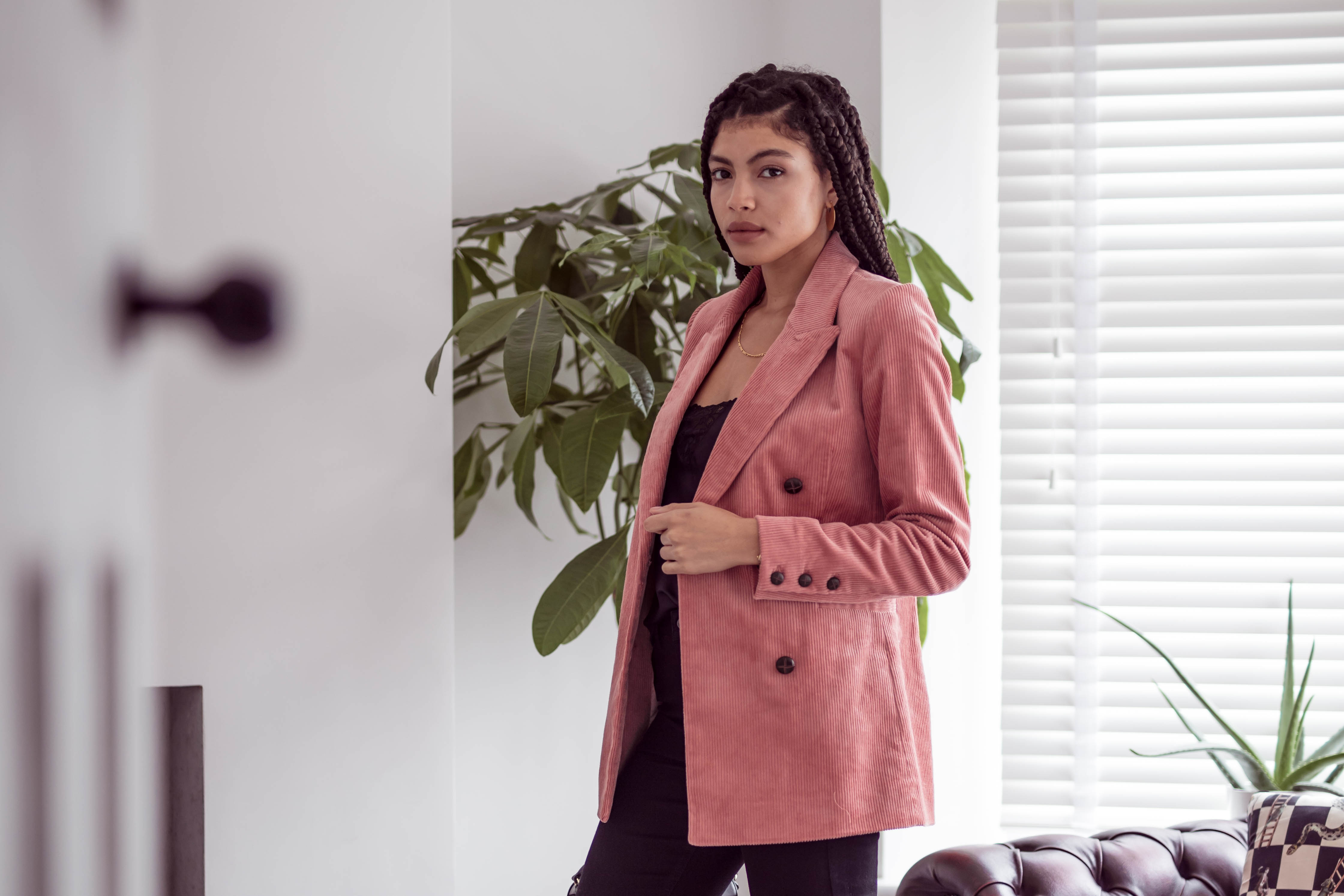 Samio styling & Other Stories Double Breasted Corduroy Blazer