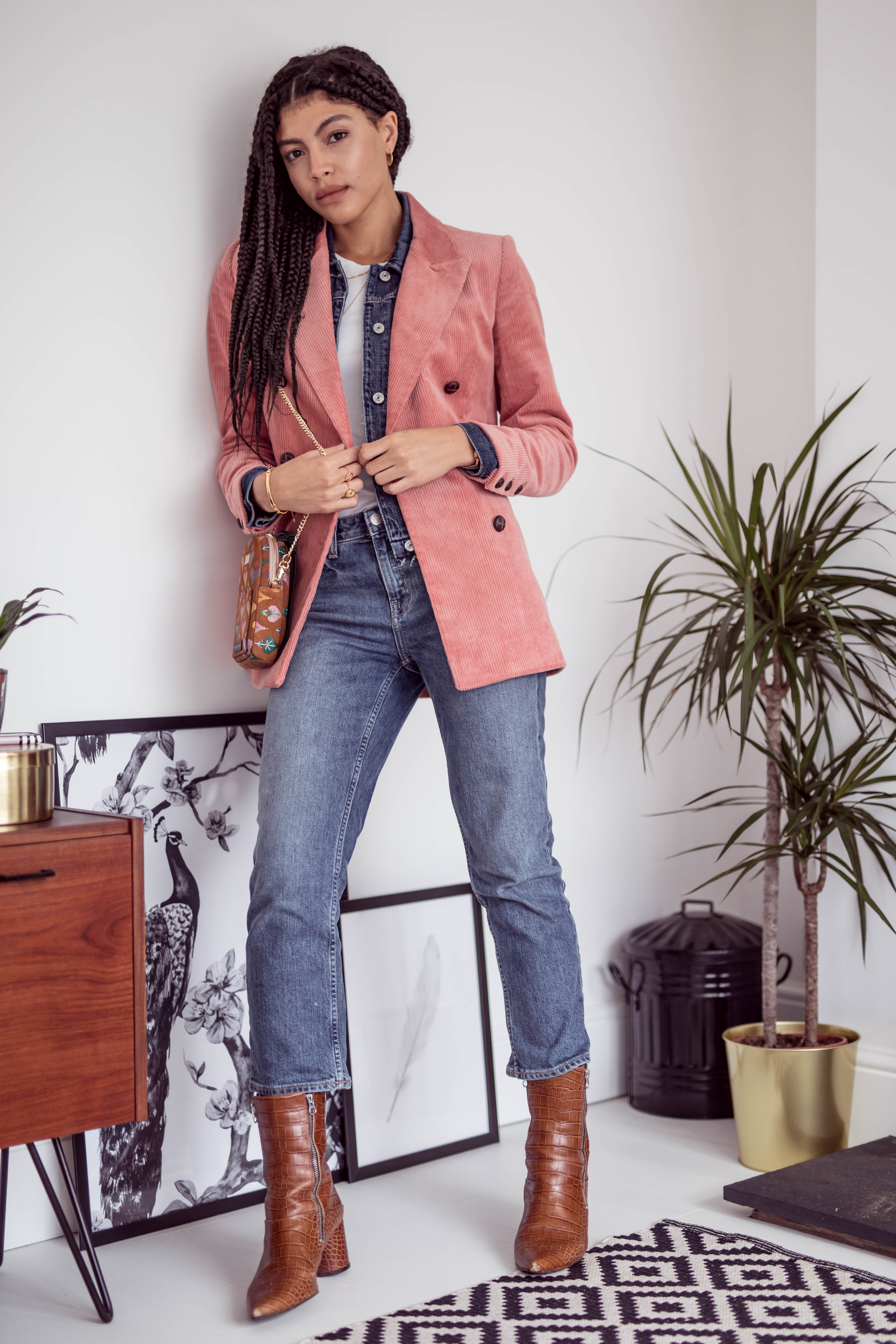 Samio transitional AW18 outfit double denim layering and Other Stories Double Breasted Corduroy Blazer