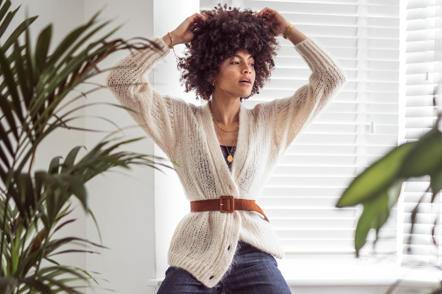 Samio And Other Stories Chunky Knit Cardigan and Tan belt