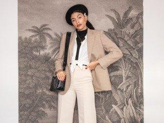 Woman styling mens vintage oversized blazer
